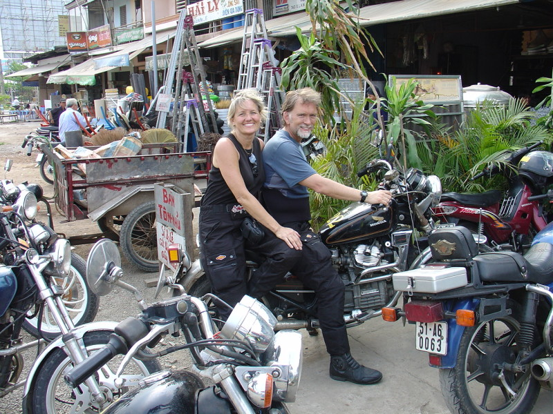 Lynda David on bike in Vietnam