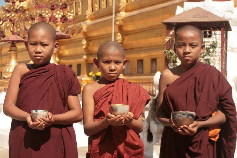 Novices at Shwezigone Stupa Bagan